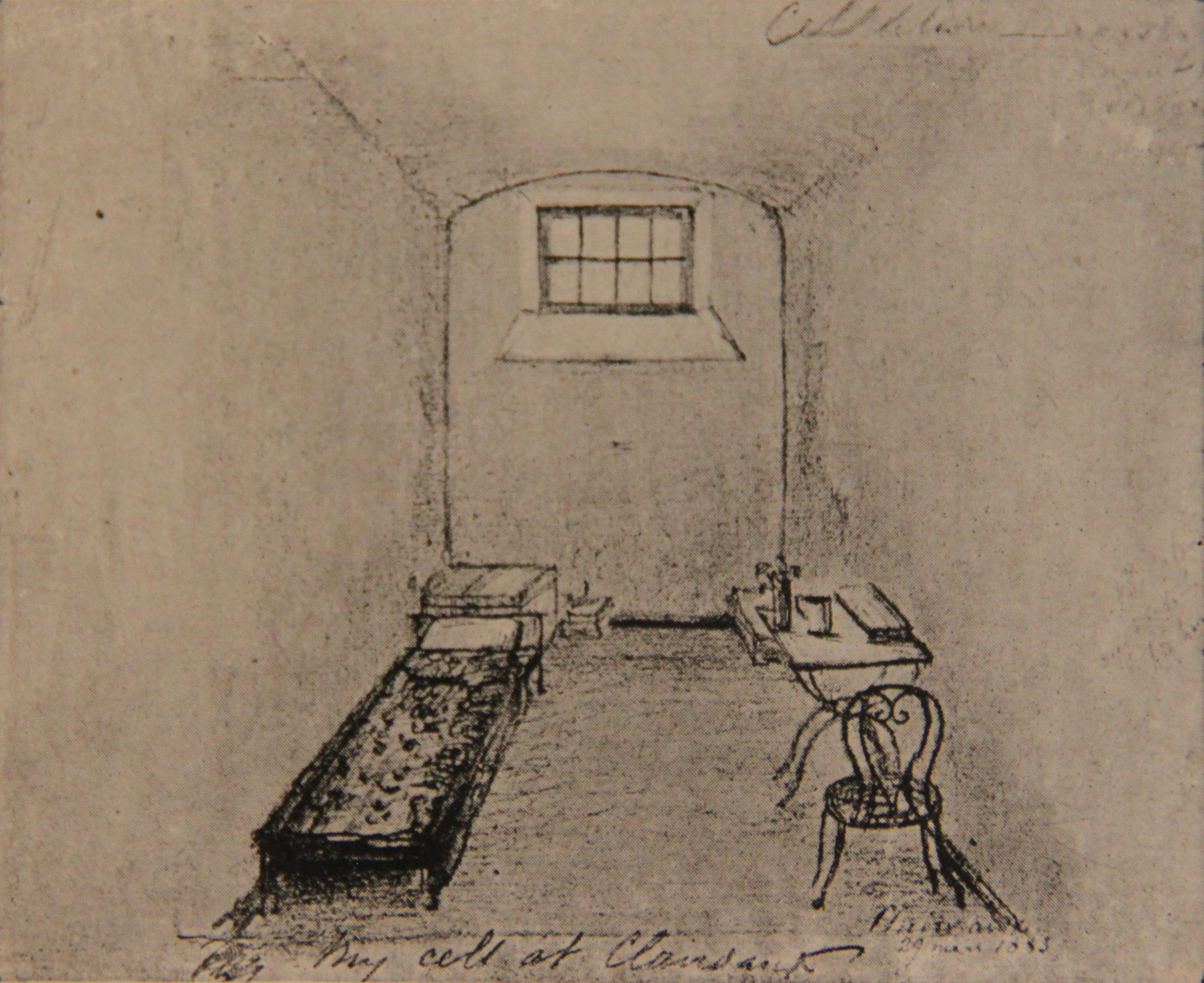 Камера П.А.Кропоткина в тюрьме Клерво, рисунок П.А.Кропоткина, 1883