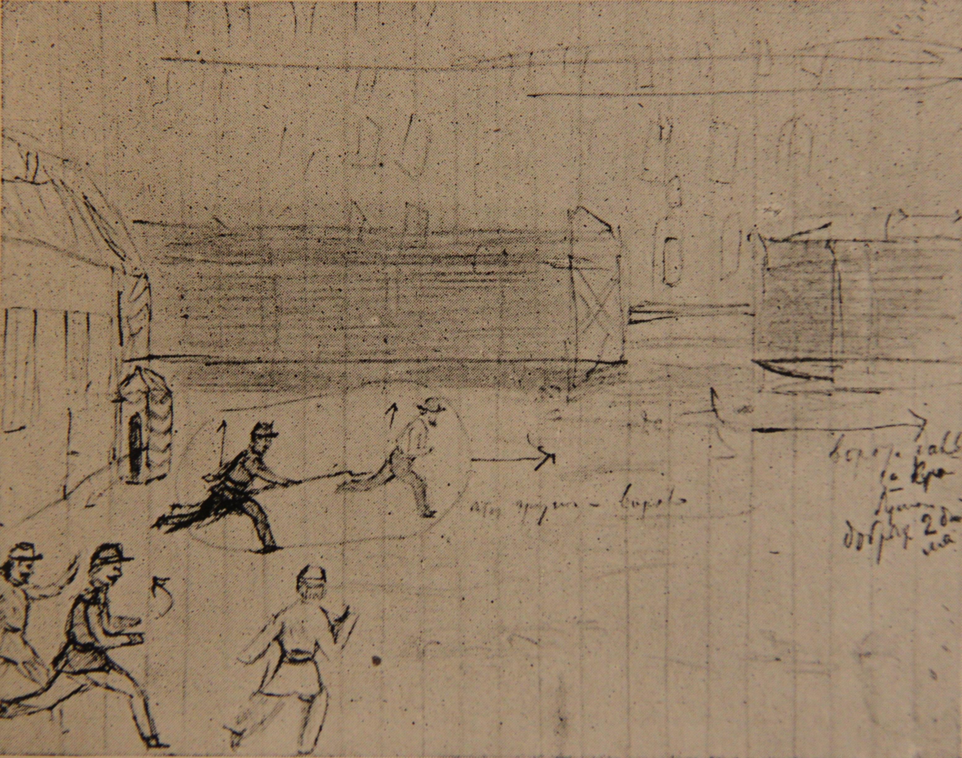 Набросок побега (рисунок карандашом П.А.Кропоткина)