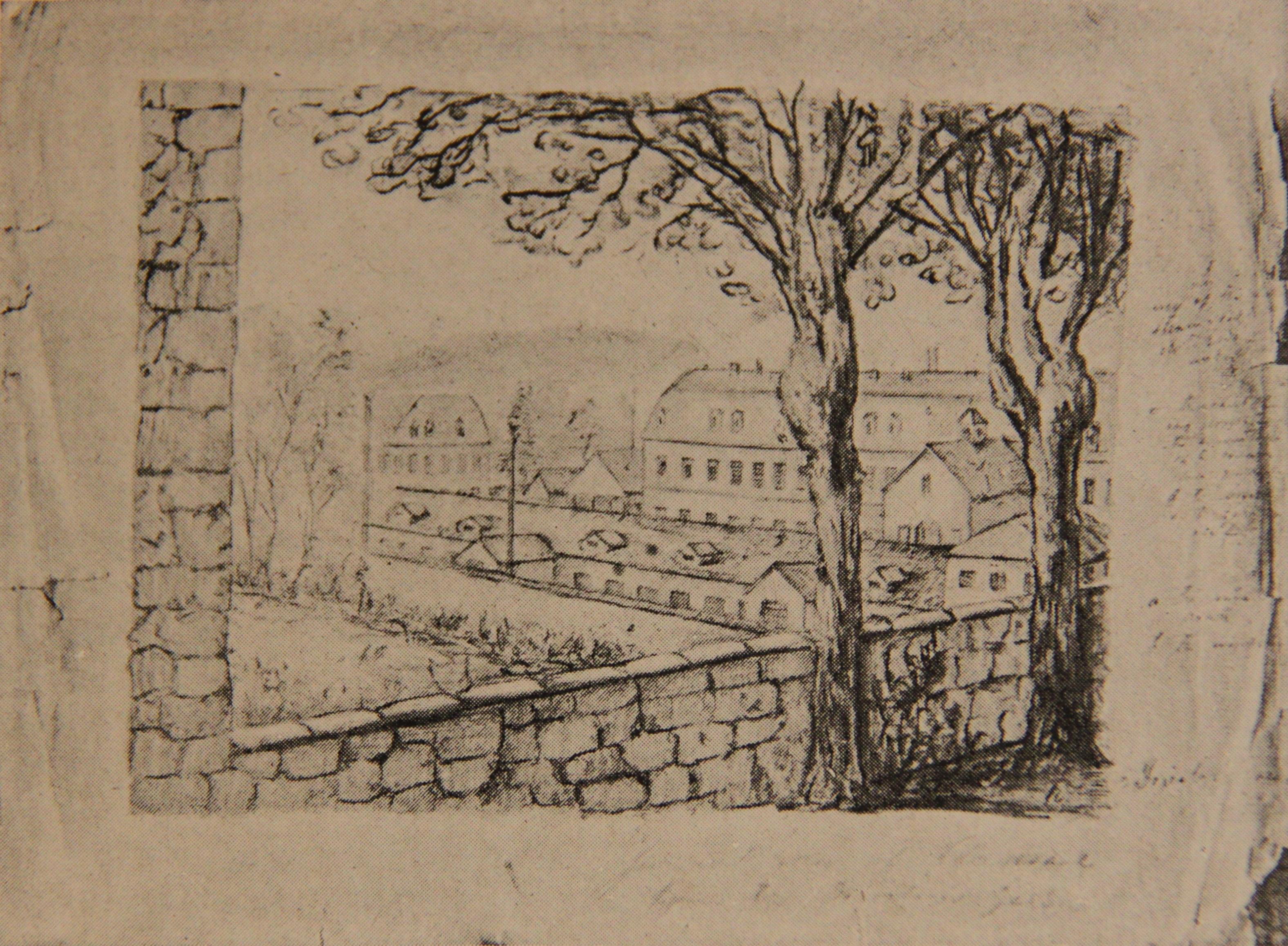 Общий вид тюрьмы в Клерво во Франции, где был заключен П.А.Кропоткин(1883-1886), рисунок П.А.Кропоткина