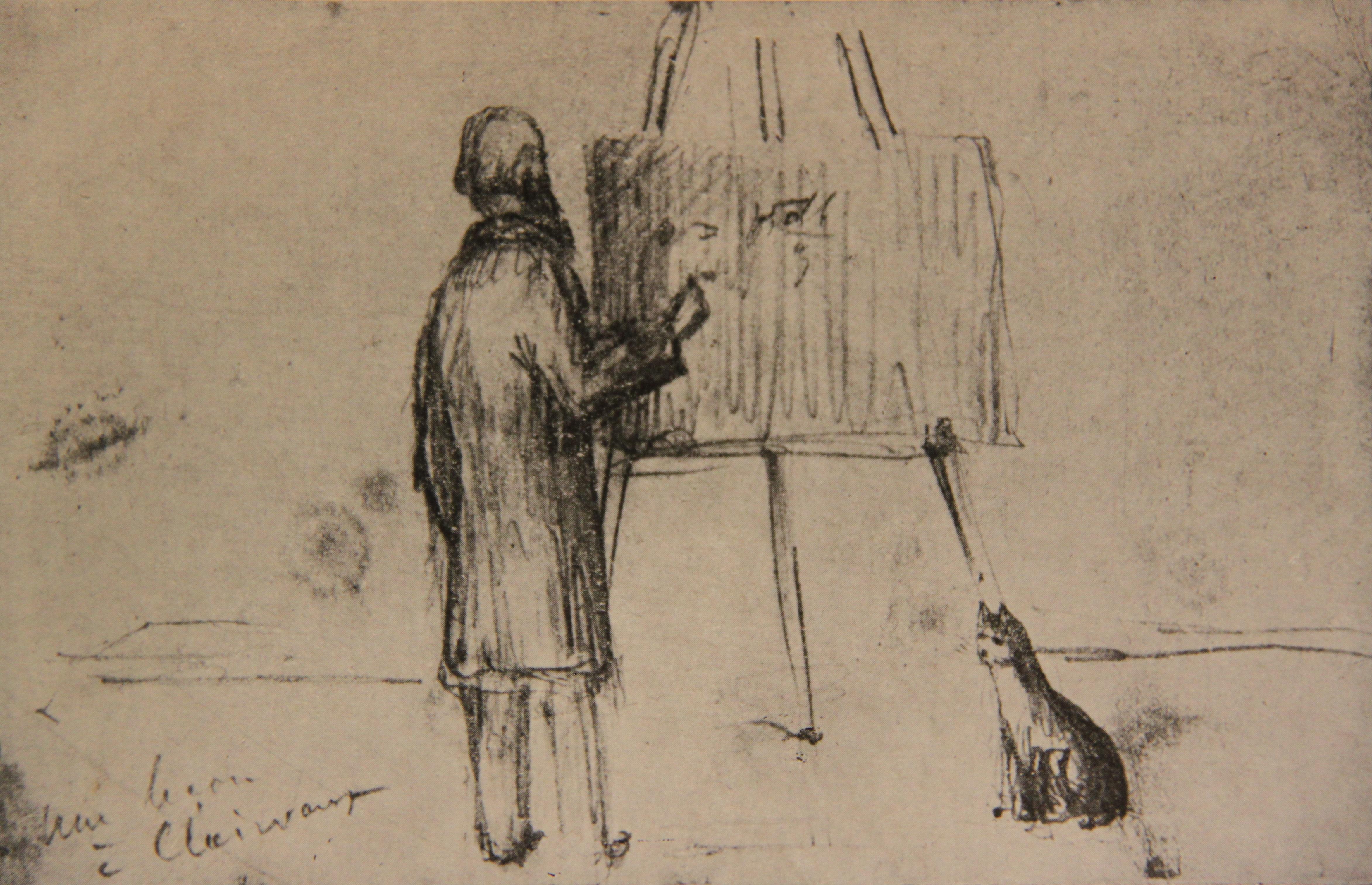 П.А.Кропоткин дает урок своим товарищам рабочим в тюрьме Клерво, рисунок П.А.Кропоткина