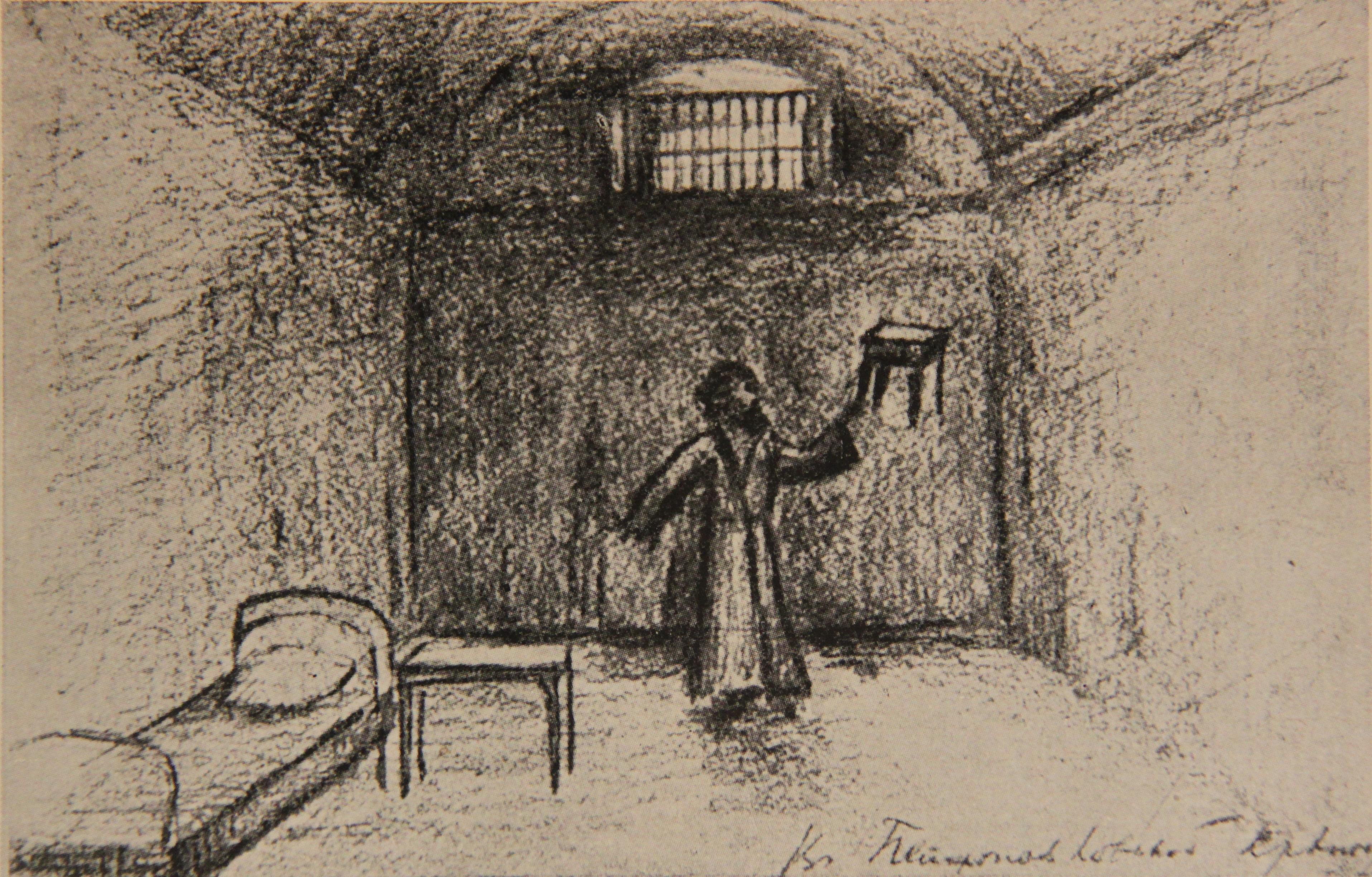П.А.Кропоткин в каземате Петропавловской крепости (рисунок карандашом П.А.Кропоткина)