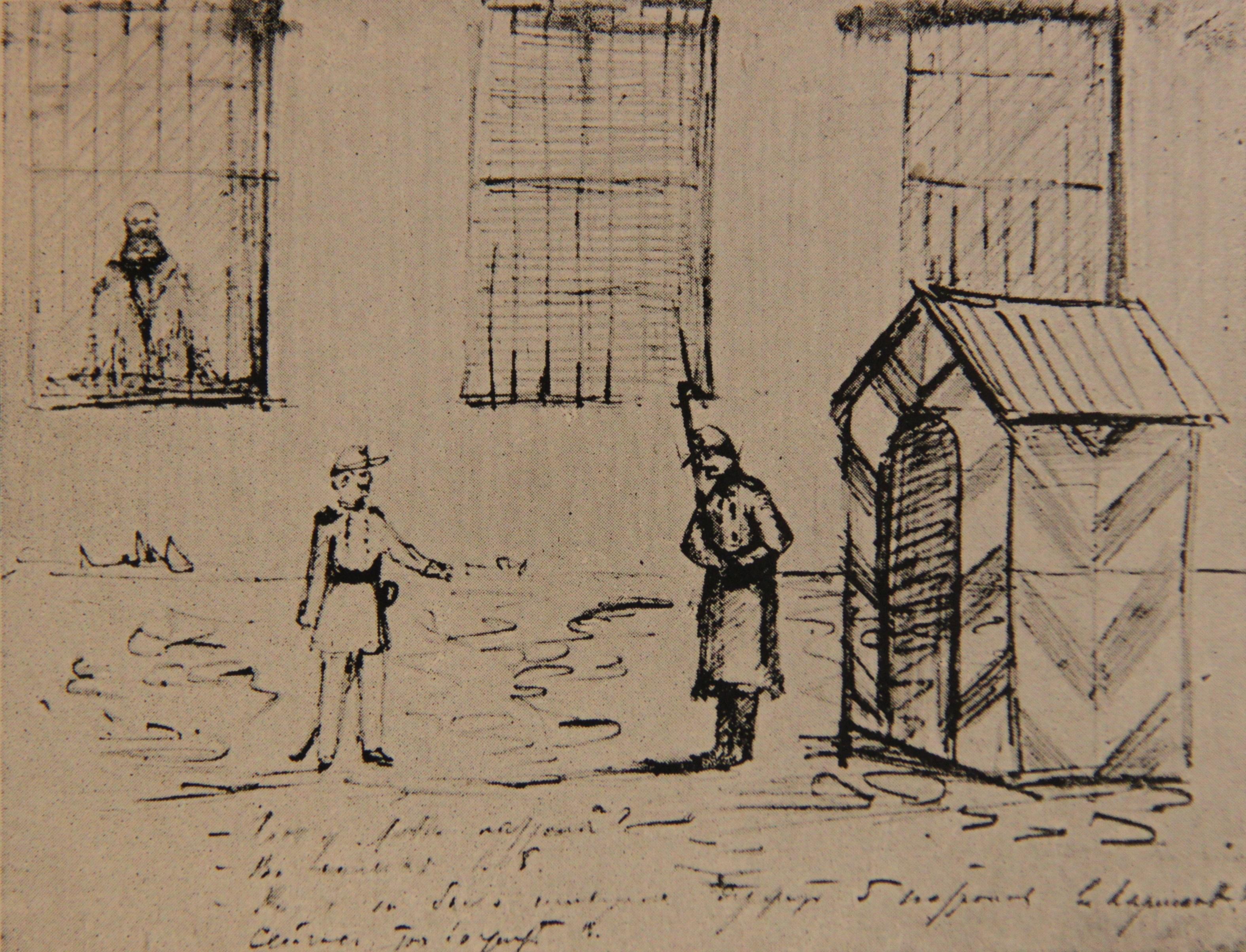 Рисунок карандашом П.А.Кропоткина, на котором он изображает себя за решетчатым окном в госпитальной тюрьме весной 1876 года