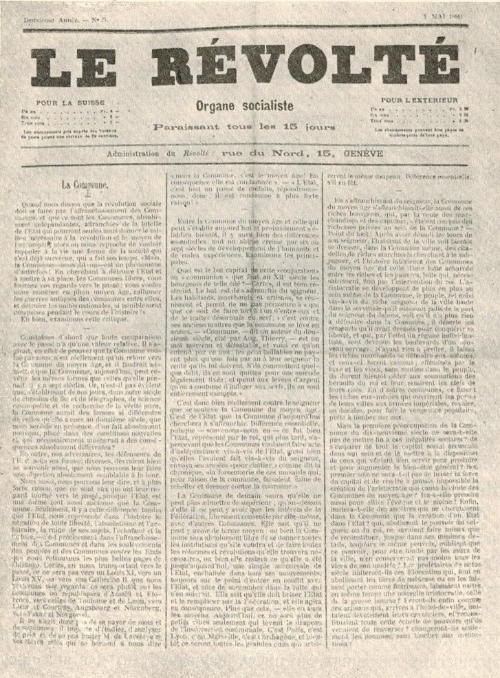 Страница газеты Le Revolte, издававшаяся П.А. Кропоткиным